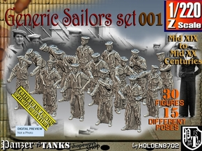 1/220 Generic Sailors Set001 in Smoothest Fine Detail Plastic
