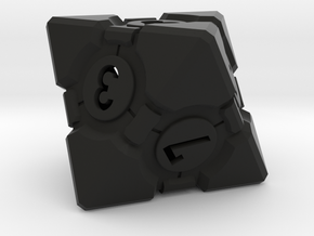Companion Cube D8 - Portal Dice in Black Natural Versatile Plastic: Large