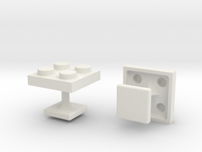 Lego Cufflinks in White Natural Versatile Plastic