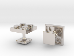 Lego Cufflinks in Rhodium Plated Brass