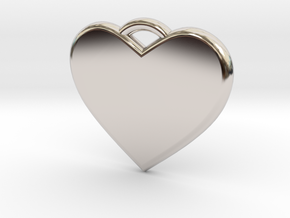 Text Engravable Heart Pendant 3 - Single Line in Rhodium Plated Brass