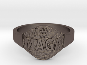Maga Hashtag Ring in Polished Bronzed Silver Steel: 9 / 59