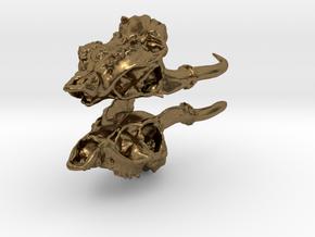Muntjac Skull Earrings in Natural Bronze