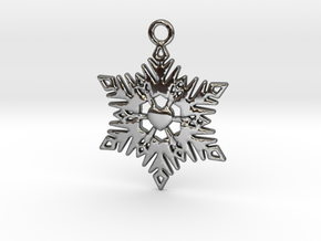 The Heart of a Snowflake in Fine Detail Polished Silver