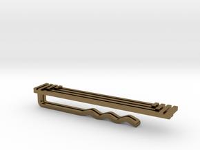 Geometric Art Deco Tie Clip in Polished Bronze: Small