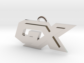 GX symbol in Rhodium Plated Brass