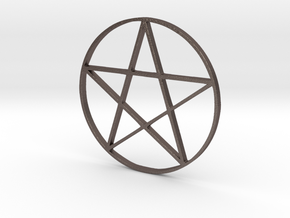 Large Pentagram (Pentacle) in Polished Bronzed Silver Steel