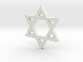 Jewish Star (Hexagram) in White Natural Versatile Plastic