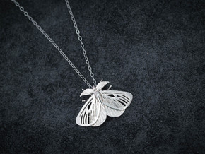 Satin Moth Pendant in Natural Silver