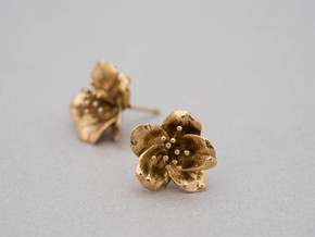 Petite Cherry Blossom Earrings in Raw Brass