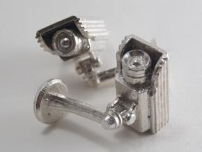 CCTV surveillance camera cufflinks in Raw Silver