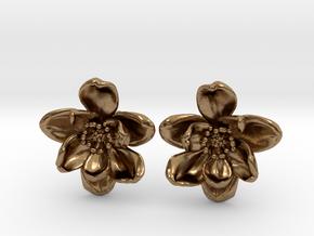 Wild Rose Earrings in Natural Brass