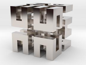 Hilbert cube ( pendant ) in Rhodium Plated Brass