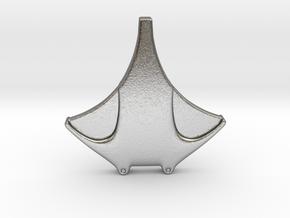 simple manta ray  in Natural Silver