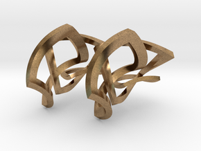 Twisted squares earrings in Interlocking Raw Brass