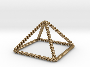 "Twisted Giza Pyramid 2.2"" in Polished Gold Steel"