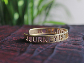 Journey Is The Destination Bangle in Matte Gold Steel
