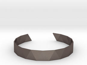 Triangle Facet Bracelet Sizes XS-XL in Polished Bronzed Silver Steel: Large