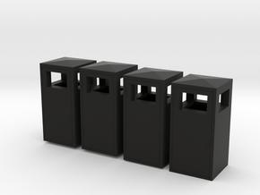 1:35th Trash bins in Black Natural Versatile Plastic