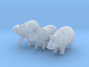 1:160 hippo set of 3 in Smooth Fine Detail Plastic