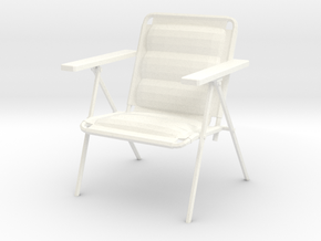 'Patio Paradise' Lawn Chair 1:12 Dollhouse in White Processed Versatile Plastic