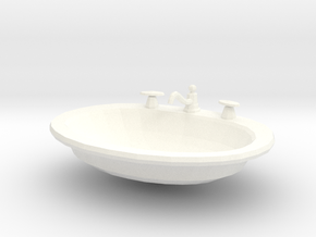 'Finer Fare' Drop-in Bathroom Sink 1:12 Dollhouse in White Processed Versatile Plastic