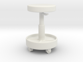 1/10 Scale Shop Roller Stool in White Natural Versatile Plastic