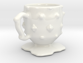Persephone's studded tea cup in Gloss White Porcelain