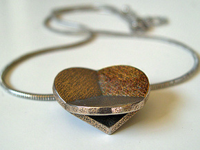 HIDDEN HEARTS PENDANT SOLID in Polished Bronzed Silver Steel