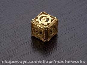 Steampunk d6 in Polished Gold Steel