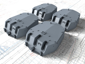 "1/350 RN Triple 6"" MKXXIII Turrets No Barrels (4) in Smooth Fine Detail Plastic"