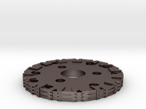 Detailed Chassis Disk in Polished Bronzed Silver Steel