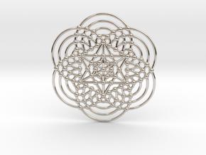 Merkaba Fractal Metatron Cube in Rhodium Plated Brass