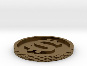 Dollar Coin - Single Material in Polished Bronze