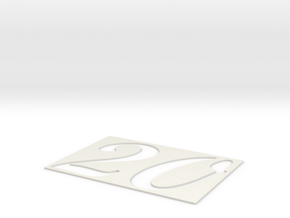 """20"" Template in White Natural Versatile Plastic"