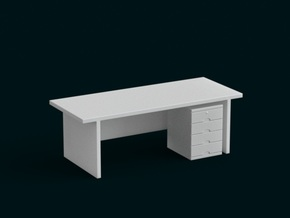 1:10 Scale Model - Table 07 in White Natural Versatile Plastic