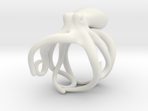 Octopus Ring 15mm in White Natural Versatile Plastic
