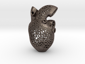 Anatomic Heart Candle Holder in Polished Bronzed Silver Steel