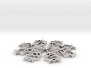 Snowflake 1 in Rhodium Plated Brass