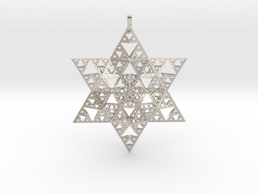 Sierpenski Star of David Ornament in Rhodium Plated Brass
