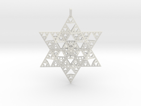 Sierpenski Star of David Ornament in White Natural Versatile Plastic