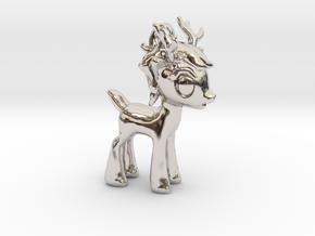 """My Little OC: Smol Reindeer 2""""  in Rhodium Plated Brass"""
