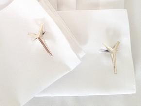 YOUNIVERSAL Origami 3T Cufflinks. Sharp Chic in Natural Silver