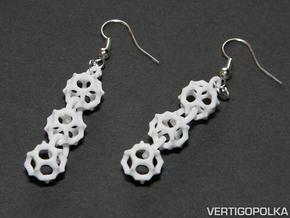 Gyroid Earrings in White Natural Versatile Plastic
