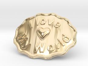 I Love My World Belt Buckle in 14K Yellow Gold