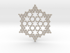 Merkaba Koch Fractal Snowflake in Rhodium Plated Brass