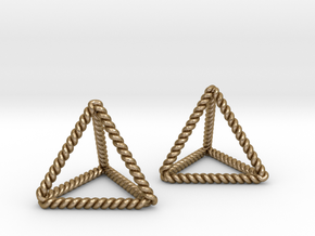Twisted Tetrahedron Pair in Polished Gold Steel