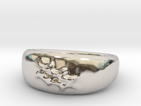 Leaf Ring sz8 in Rhodium Plated Brass