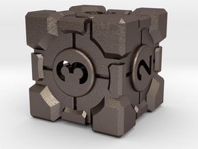 Companion Cube D6 - Portal Dice in Polished Bronzed Silver Steel: Small