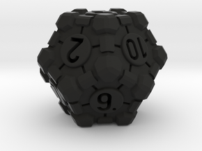 Companion Cube D12 - Portal Dice in Black Natural Versatile Plastic: Small